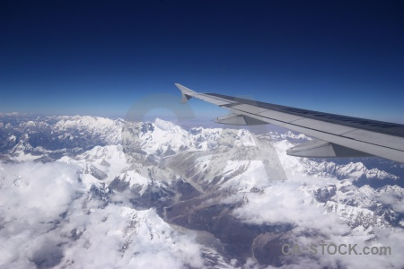 South asia snow cloud aerial everest.