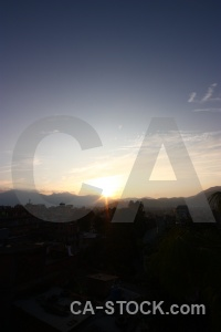 South asia sunrise sunset kathmandu mountain.