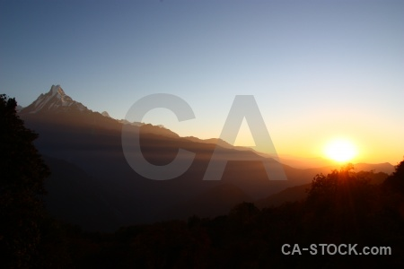 South asia sunset mountain annapurna sanctuary trek machapuchre.