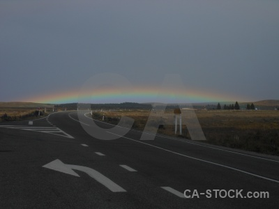 South island cloud sky rainbow road.