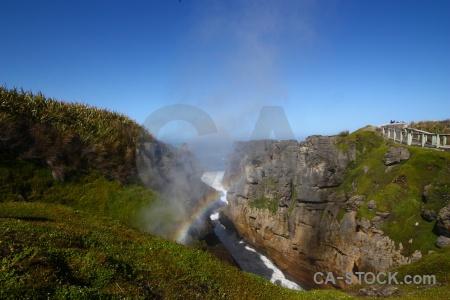 South island sky limestone wave blowhole.