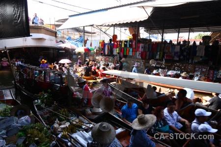 Southeast asia building person market damnoen saduak.