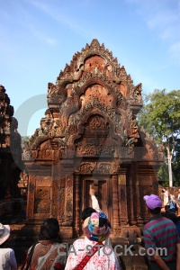 Southeast asia cambodia temple carving ruin.