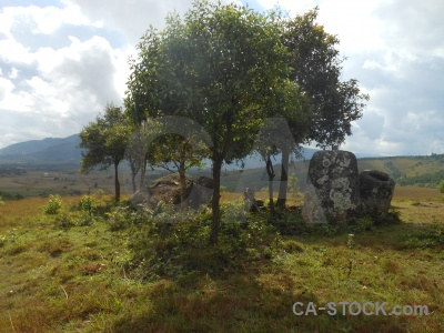 Southeast asia cloud plain of jars rock lichen.