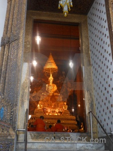 Southeast asia gold ornate temple of the reclining buddha buddhist.