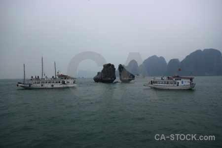 Southeast asia ha long bay water kissing islands vietnam.
