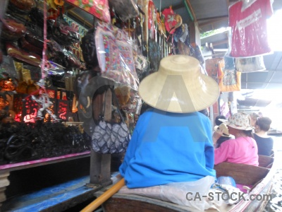 Southeast asia hat damnoen saduak thailand floating.