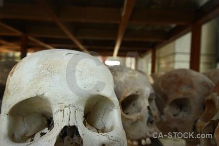 Southeast asia mass grave choeung ek khmer rouge skull.