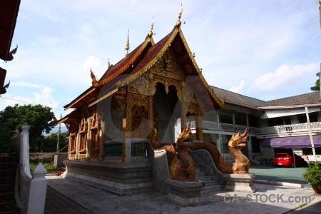 Southeast asia ornate column dragon thailand.