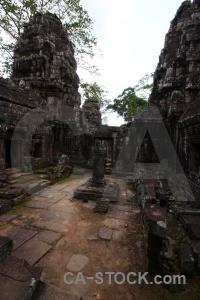 Southeast asia pillar lichen buddhism ruin.