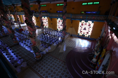 Southeast asia pray temple person tay ninh.