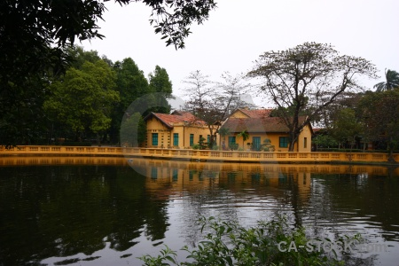 Southeast asia presidential palace vietnam pond lake.