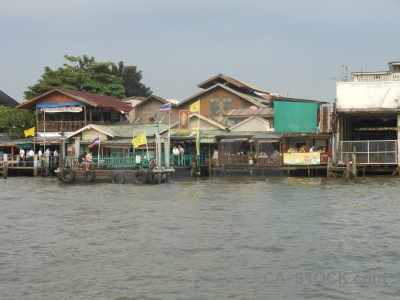 Southeast asia river building water tha tien pier.