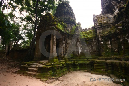 Southeast asia ruin preah khan buddhist pillar.