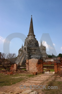Southeast asia thailand stupa sky brick.