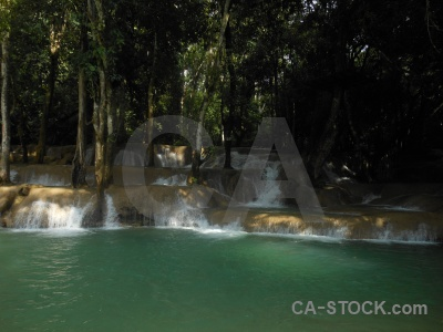 Southeast asia vegetation mud waterfall water.