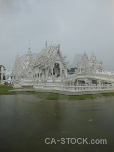 Southeast asia white temple buddhist wat rong khun water.