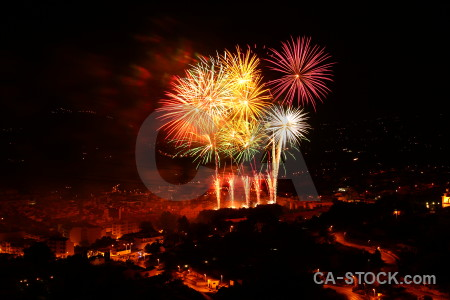 Spain black orange night firework.
