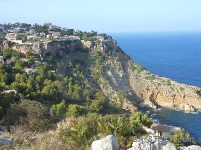 Spain cliff javea water tree.