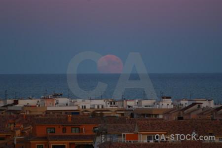 Spain europe moon sky building.