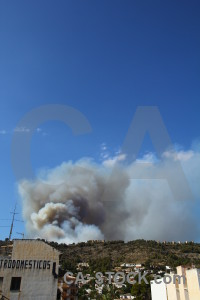 Spain javea europe montgo fire smoke.