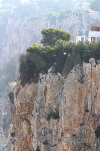 Spain rock cliff tree europe.