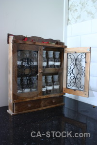 Spice object jar scientific cabinet.