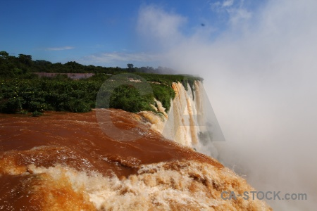 Spray sky iguassu falls iguazu river south america.