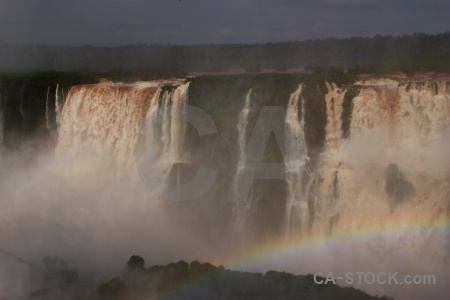 Spray south america unesco rainbow waterfall.