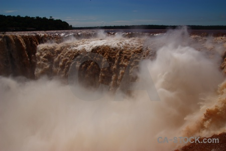 Spray waterfall river iguazu south america.