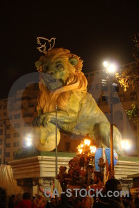Statue animal yellow valencia lion.