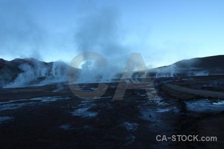Steam atacama desert chile landscape geyser.