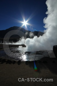 Steam el tatio chile south america geyser.