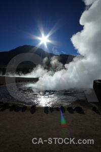 Steam el tatio chile water geyser.