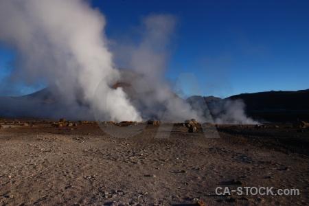 Steam geyser atacama desert el tatio sky.