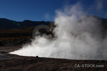 Steam rock sky geyser south america.
