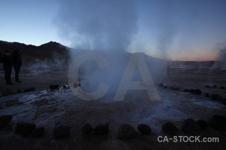 Steam south america el tatio mountain geyser.