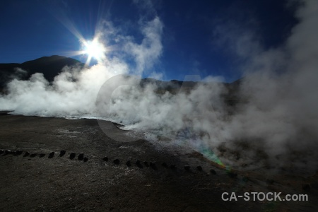 Steam sun el tatio atacama desert south america.
