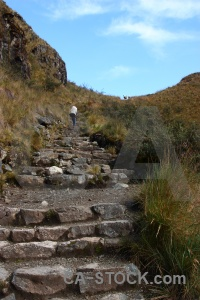 Step andes inca trail stone llulluchapampa valley.
