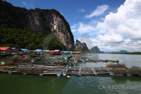 Stilts cliff southeast asia sea vehicle.