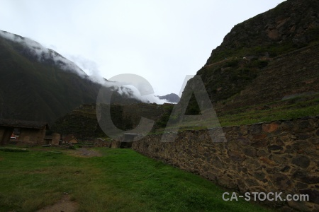 Stone cloud inca ruin terrace.