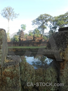 Stone lake water ruin khmer.