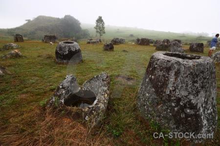Stone lichen grass jar asia.