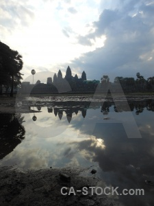Stone pond cambodia sky reflection.