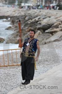 Stone spain costume sea beach.