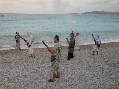 Stone weapon person gun sea.