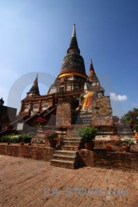 Stupa building southeast asia phra chedi chaimongkol thailand.