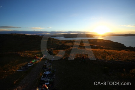Sunrise lake andes sun titicaca.