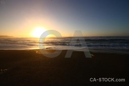 Sunrise sea water west coast beach.