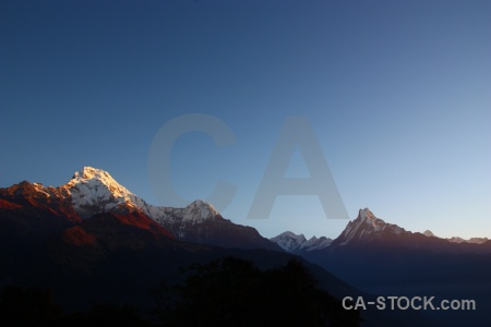 Sunrise sunset mountain snowcap himalayan.